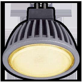 Светодиодная лампа рефлектор MR16 5,4W GU5.3 золотистая матовое стекло (ребристый алюм. радиатор) 47x50