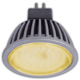 Светодиодная лампа рефлектор MR16 5,4W GU5.3 золотистая прозрачное стекло (ребристый алюм. радиатор) 47x50
