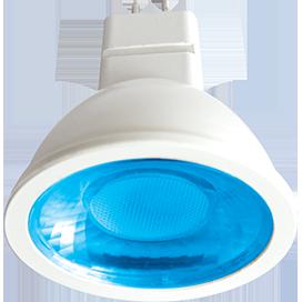 Цветная светодиодная лампа рефлектор MR16 color 4,2W 220V GU5.3 Красный,синий, зеленый, желтый. прозрачное стекло (композит) 47х50