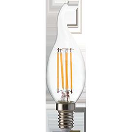 Светодиодная лампа свеча нитевидная Premium 6W E14 2700K 360° filament прозрачная на ветру 125х37