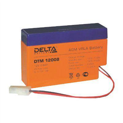 Аккумулятор свинцовый AGM DTM12008 12В 0.8Ач. Габариты: 96x25x62 мм. Вес: 0.34 кг