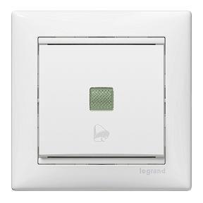 Кнопка Valena 10А 12В подсветка, с символом звонка,  алюминий | арт. 770115 | Legrand