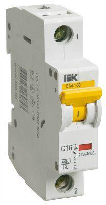 Модульный автоматический выключатель ВА 47-60 1 полюс, 16А, характеристика С | арт. MVA41-1-016-C | IEK