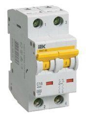 Модульный автоматический выключатель ВА 47-60 2 полюса, 40А, характеристика D | арт. MVA41-2-040-D | IEK