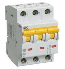 Модульный автоматический выключатель ВА 47-60 3 полюса, 6А, характеристика D | арт. MVA41-3-006-D | IEK