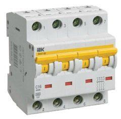 Модульный автоматический выключатель ВА 47-60 4 полюса, 16А, характеристика D | арт. MVA41-4-016-D | IEK