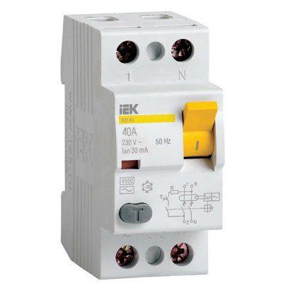 Выключатель дифференциальный ВД1-63S (селективное УЗО) 2 полюса, 32А, 300мА | арт. MDV12-2-032-300 | ИЭК