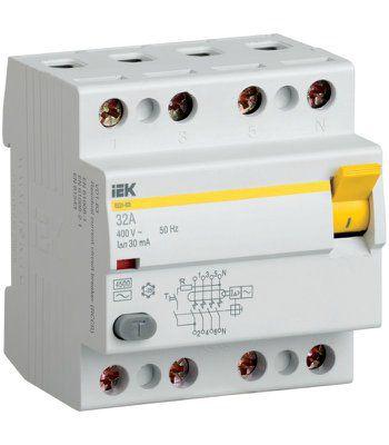 Дифференциальный выключатель (УЗО) ВД1-63 тип А 4 полюса, 16А, 30мА | арт. MDV11-4-016-030 | ИЭК