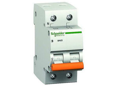 Модульный автоматический выключатель ВА63 2 полюса, 10А, х-ка C |  код. 11212 |  Schneider Electric