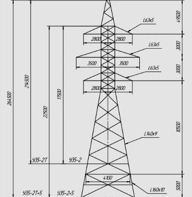 Анкерно-угловые металлические опоры ЛЭП 35 кВ типа У 35