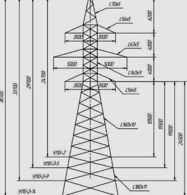 Промежуточные металлические опоры ЛЭП 110 кВ типа ПС 110, П 110