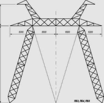Промежуточные металлические опоры для ЛЭП 500 кВ типа Р1, Р2, ПБ, ПУБ, ПП 500, ПС 500, ПУ 500