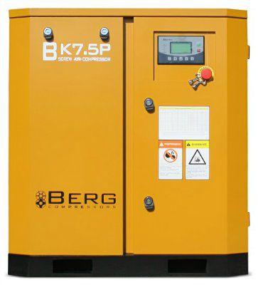 Винтовой компрессор BERG ВК-7.5Р-Е с ременным приводом, c частотно-регулируемым преобразователем