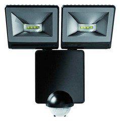 LUXA 102-140 LED 16Вт, светодиодный прожектор 2х8Вт с датчиком движения 140°, черный, IP44
