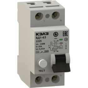 Выключатель дифференциального тока без защиты от сверхтоков ВД1-63-2232-А-УХЛ4-КЭАЗ (2P, 32, 30mA)