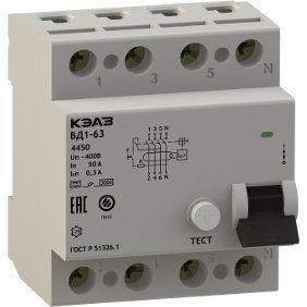 Автоматический выключатель дифференциального тока с защитой от сверхтоков АД14-44C63-АC-УХЛ4-КЭАЗ (4P, C63, 300mA)