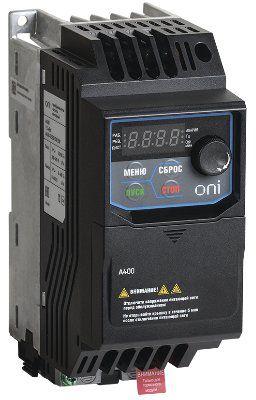 Преобразователь частоты A400 380В, 3Ф 0,75 kW 2,5А фирма ONI (   A400-33E0075IP20F )