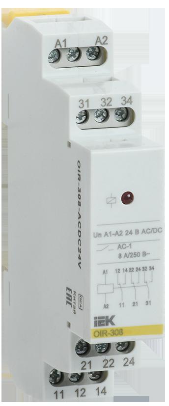 Промежуточное модульное реле OIR  ( OIR-308-ACDC48V ) , 3 конт. (8А) 48В AC/DC