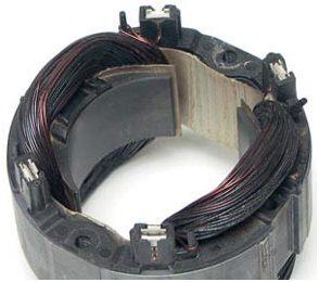 Полностью сгоревший статор двигателя циркулярной пилы